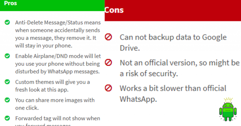 Pros and Cons of GBWhatsapp